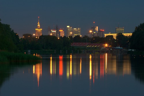 Warsaw by night - view from Zernaski's canals