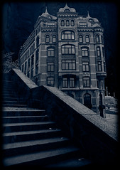 Packhusplatsen (gothicburg) Tags: blue windows house texture architecture stairs photoshop dark gteborg scary sweden gothenburg gothic towers monochromatic horror sverige solarized desolate turrets lightroom menagerie packhusplatsen