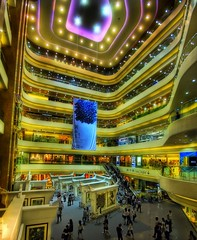 A Tiny Mall in Hong Kong (Stuck in Customs) Tags: china lighting blue light wallpaper people panorama art texture colors lines modern composition reflections mall shopping painting photography hongkong gold lights intense nikon perfect energy asia exposure shoot artist mood ship asians photographer shot angle image actio
