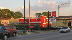 The recently remodeled KFC restaurant on North Harlem Avenue. Chicago Illinois. July 2008.