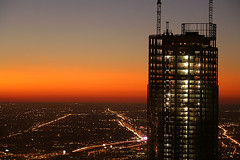 (Kevin Dickert) Tags: city nightphotography sunset urban chicago building skyline architecture night skyscraper grid downtown cityscape dusk fromabove highrise canon5d bluehour trumptower lookingdown downtownchicago nightfall citygrid canonef70200mmf4l blueperiod trumpinternationalhotelandtowerchicago toppingout urbanchicago toppedout abovestreetlevel cityscrape iamhydrogen kevindickert