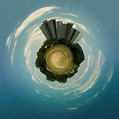 Miniworld (Bigod) Tags: building photoshop germany bluesky planet mainz bigod miniplanet