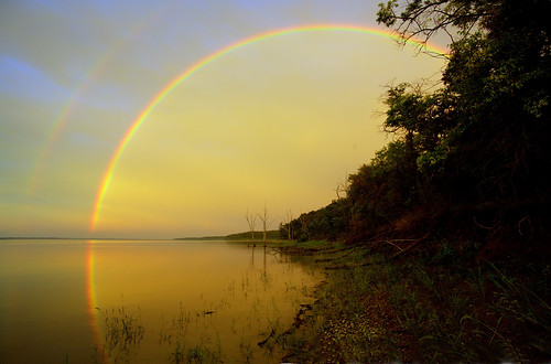 double rainbow on river