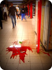 Union Square Bleeds (CocteauBoy) Tags: blood wine brokenglass spill unionsquare