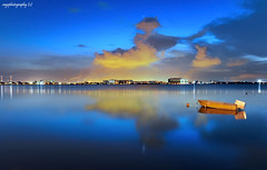 When The Blue Hour Comes.... (Ragstatic) Tags: longexposure blue sunset holiday color reflection clouds relax landscape lights landscapes boat nikon singapore asia exposure nocturnal nightshot rags calm reservoir explore serene bluehour refinery nocturne dri hfr d700 ragsphotography