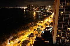 Lights of Waikiki (Mi-ly) Tags: yellow night lights hawaii hotel honeymoon traffic waikiki oahu