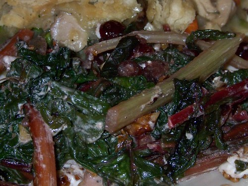 swiss chard with goat cheese walnuts cranberries
