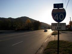 Sunset Highway (llnesinthesand) Tags: road old sign nc highway northcarolina marker i40