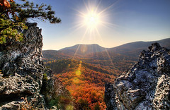 I have the Warmth of the Sun (Karnevil) Tags: autumn usa sun fall nc nikon northcarolina lensflare hdr d300 hangingrockstatepark changingofseason