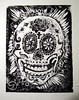 Day of the Dead skull  lino cut block print