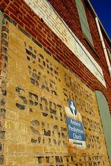 Work Clothes, War Surplus (taberandrew) Tags: sign virginia va amherst presbyterianchurch walldog amherstcounty