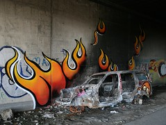 burn baby burn (dug_da_bug) Tags: madrid streetart abandoned car fire graffiti spain destruction flames flame burnt murphy asier montecarmelo desviados