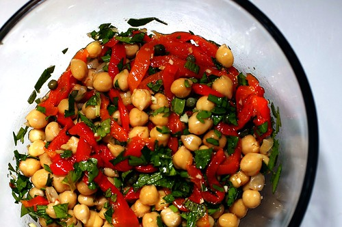 chickpea salad with capers and roasted red peppers