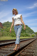 (NewEndProductions) Tags: railroad blue red senior alley pittsburgh dress katie bricks tracks jeans newendproductions