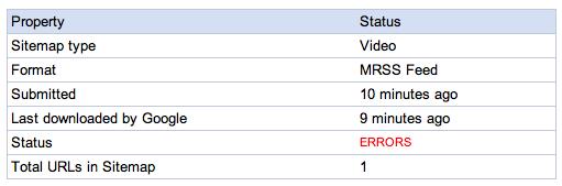 mRSS Video Sitemaps in Google
