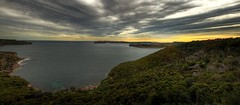 Over looking sydney harbour (J.woof) Tags: ocean trees sunset water canon rocks day cloudy head south north sydney cbd middle stitched hdr 400d balgowlahheights