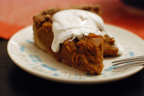 Brandied pumpkin pie topped with soyatoo.