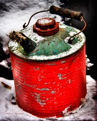 Kerosene can HDR (sandrajkammerer) Tags: snow ny canon can hdr kerosene ellicottvile 40d