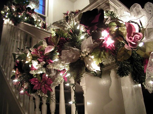 Christmas garland decorating staircase... - a photo on Flickriver