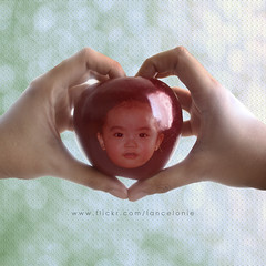 74/365:  I love the apple of my eye (lancelonie) Tags: project bokeh fave sophia textured redapple loveapple project365 bokehlicious project101 heartshapedhands flickrlovers micartttt makeothershappy lanceloniephotography