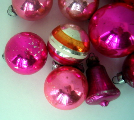 VINTAGE PINK MERCURY GLASS ORNAMENTS #2