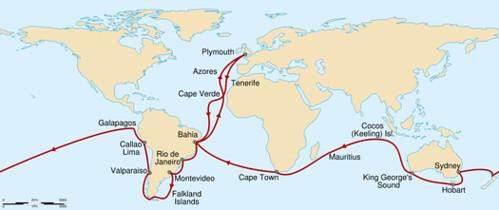Mapa Ruta del Beagle
