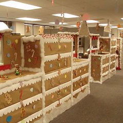 or you can turn it into a teambuilding exercise and have a christmas decorating contest when it comes to decorating en masse more is more - Office Cubicle Christmas Decorations