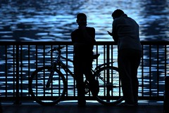 father & son talk (!!sahrizvi!!) Tags: blue boy sea man men water beautiful silhouette fenc
