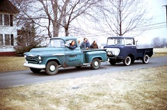 1957 Chevy Pickup Towing Old Jeep Pickup, 1971 (63vwdriver) Tags: old chevrolet car truck vintage jeep connecticut ct pickup east chevy 1957 windsor
