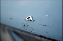 A (Jan Bakker) Tags: blue classic car 35mm typography rust dof capital serif bailout schreefletter