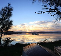 Jealous (pominoz) Tags: trees sunset lake reflection swansea clouds boats nsw lakemacquarie