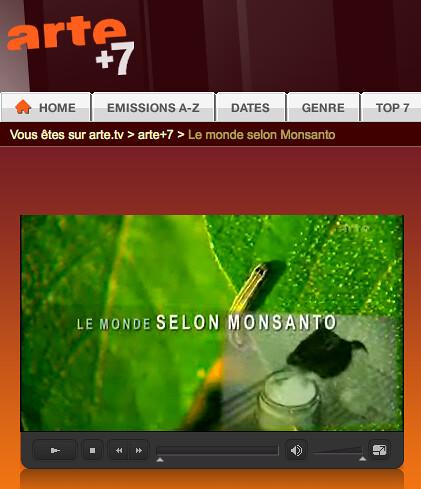 Copie d'écran du site Arte + 7
