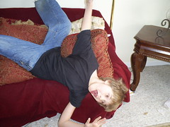 Falling...um, off the couch..... (mushaboomrobot) Tags: crazy brother jacob aaron off couch falling wolfe the