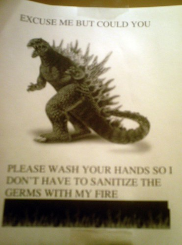 Excuse me but could you please wash your hands so I don't have to sanitize the germs with my fire.