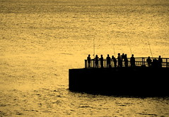Fishing (... Arjun) Tags: sunset people bw 15fav fish monochrome silhouette sepia 1025fav 510fav fence gold golden pier search fishing nikon singapore asia glow angle probe monotone 100v10f 2550fav d200 seek toned 2008 magical ecp eastcoastpark fishingrod 200mm trawl scoutabout gofishing catchfish 18200mmf3556g castaline noseabout digaround