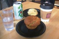 Muffin, scone, coffee, soda