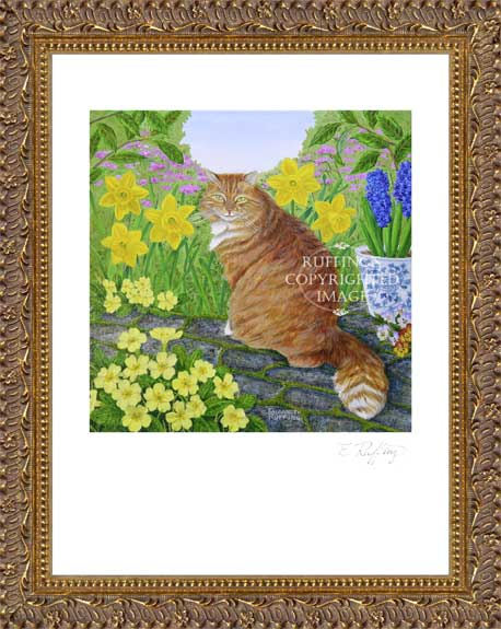 Laurence with Primroses and Daffodils by Elizabeth Ruffing Framed Cat Print