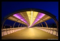 The Tube (Adam Dimech) Tags: bridge light night evening twilight footbridge dusk overpass australia melbourne tunnel victoria richmond walkway mcg rodlaverarena melbournecricketground diamondclassphotographer flickrdiamond