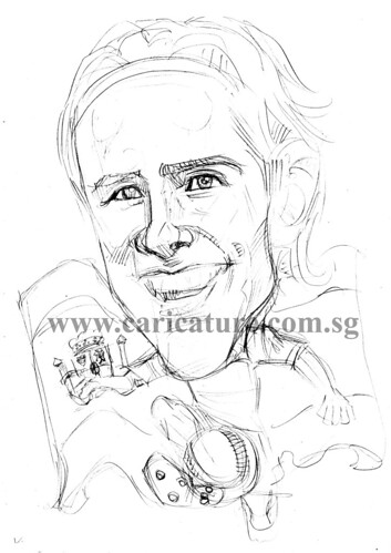 Caricature of Fernando Torres pencil sketch watermark