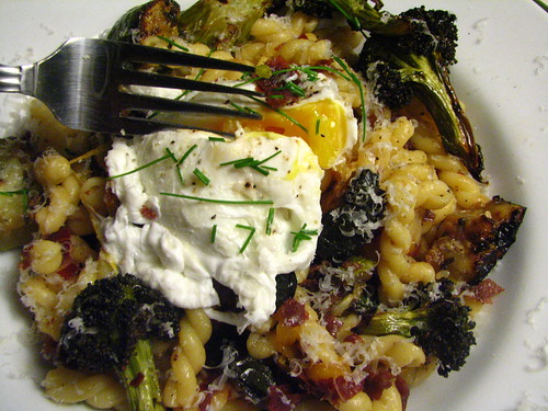 Gemelli with Roasted Veggies, Bresaola and a Poached Egg with Roasted Garlic Sauce,