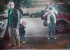 walking past a dirty, tinted and scratched window on our way to sushi in prahran, i saw a family photo op. (sesame ellis) Tags: family selfportrait reflection me window twins nikon mykid australia melbourne pregnant d3 myhusband racheldevine wwwracheldevinecom