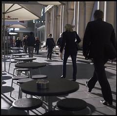 life's empty tables (ziz) Tags: winter colour 120 sunshine umbrella mediumformat cafe fuji shadows australia melbourne victoria pedestrians sanpellegrino gpo dunny elizabethstreet c41 pro160c hasselblad500c federalcoffeepalace 80mmf28t