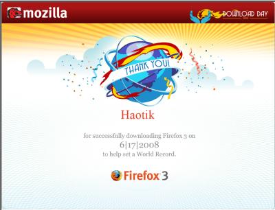 Certificat Firefox - Haotik - Guinness World Record