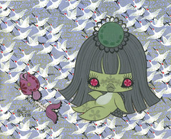 Miyo with a fishbone (moshi moshi gallery) Tags: cute sexy japan lady japanese skull artist gallery manga brain kawaii toyko portlandoregon moshi kappa guts artexhibition cryptozoology moshimoshi cryptid junkomizuno billygalaxy girlsgirl