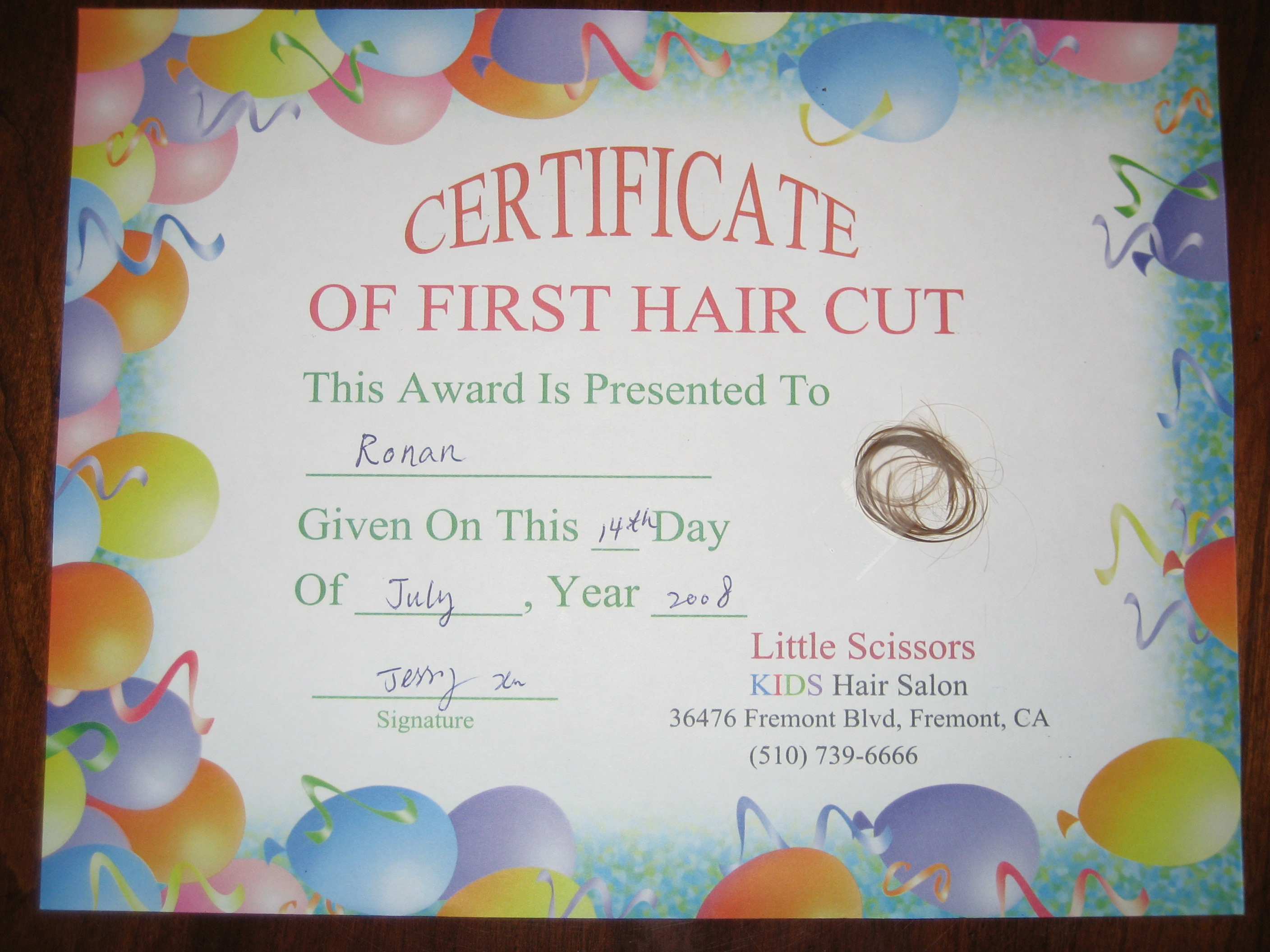 My first haircut certificate free first haircut certificate