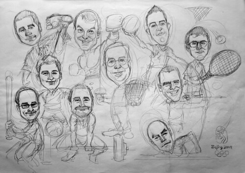 Group caricatures for Microsoft Australia Team pencil sketch