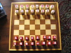 Shatranj set, sort of (litlnemo) Tags: wood pieces sca painted chess shatranj medievalgames kwwos
