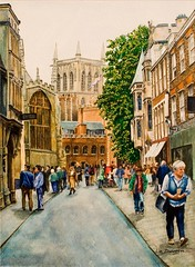 Oxford Street Scene (Liz davies) Tags: painting streetscene oxford watercolour associate lizdavies watercoloursocietyofsouthafrica