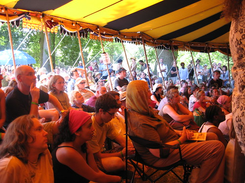 An audience in the Taste The World Tent at WOMAD 2008
