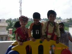Pranava in a playful mood with his friends (Prasanna K G) Tags: students for dress competition fancy lkg
